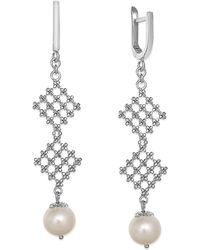 Effy Collection - Pearl Lace By Effy Cultured Freshwater Pearl Diamond-shaped Drop Earrings In Sterling Silver (8-1/2mm) - Lyst