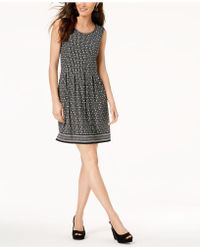 Maison Jules - Printed Pleated Fit & Flare Dress, Created For Macy's - Lyst