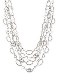 """Jenny Packham - Silver-tone Crystal Four-row Collar Necklace, 16"""" + 2.75"""" Extender - Lyst"""