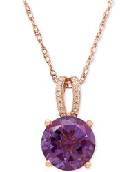 Macy's - Amethyst (2-1/2 Ct. T.w.) And Diamond (1/8 Ct. T.w.) Pendant Necklace In 14k Rose Gold - Lyst