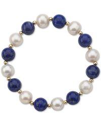 Macy's - Aquamarine (10mm) & Cultured Freshwater Pearl (9-1/2mm) Stretch Bracelet In 14k Gold (also In Lapis Lazuli) - Lyst