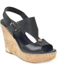 1bb13b9ec36805 Guess - Hulda Platform Wedge Sandals - Lyst