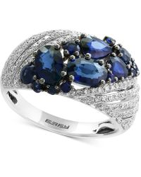 Effy Collection - Sapphire (2-1/10 Ct. T.w.) And Diamond (3/8 Ct. T.w.) Ring In 14k White Gold - Lyst