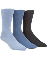 Calvin Klein - Socks, Combed Flat Knit Crew 3 Pack - Lyst