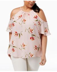 Soprano - Trendy Plus Size Printed Cold-shoulder Ruffle Top - Lyst