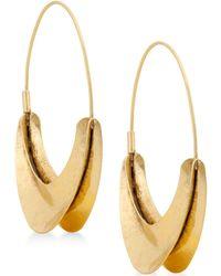 """Lucky Brand - Gold-tone 2-2/5"""" Hoop Earrings - Lyst"""