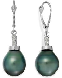 Macy's - Baroque Tahitian Pearl (11mm) And Diamond Accent Drop Earring In 14k White Gold - Lyst