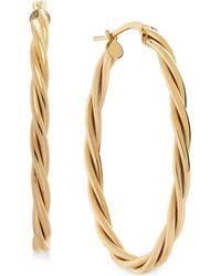 Macy's - Twist Oval Hoop Earrings In 14k Gold - Lyst