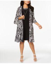 R & M Richards - Plus Size Necklace Dress & Printed Jacket - Lyst
