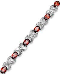 Macy's - Garnet (7-1/2 Ct. T.w.) And Diamond Accent Xo Bracelet In Sterling Silver - Lyst
