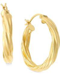 Macy's - Twisted Hoop Earrings In 14k Gold - Lyst