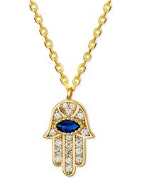 """Macy's - Cubic Zirconia Hamsa Hand Pendant Necklace In 18k Gold-plated Sterling Silver, 16"""" + 2"""" Extender - Lyst"""