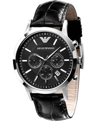 Emporio Armani - Watch, Men's Black Leather Strap Ar2447 - Lyst
