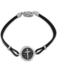 Effy Collection - Black Leather Cross Bracelet In Sterling Silver - Lyst