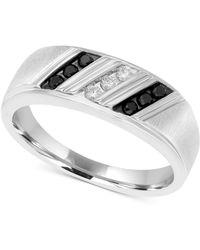 Macy's - Men's Diamond Diagonal Ring (1/4 Ct. T.w.) In Sterling Silver - Lyst