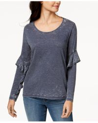 Style & Co. - Ruffle-sleeve Burnout Top, Created For Macy's - Lyst