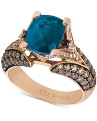 Le Vian - Chocolatier® Deep Sea Blue Topaztm (3-3/8 Ct. T.w.) & Diamond (1-1/5 Ct. T.w.) Ring In 14k Rose Gold - Lyst