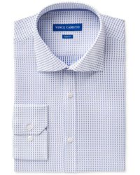 Vince Camuto - Men's Slim-fit Comfort Stretch Cerulean Square Dobby Dress Shirt - Lyst