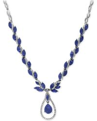 Effy Collection | Sapphire (10-1/2 Ct. T.w.) And Diamond (9/10 Ct. T.w.) Fancy Teardrop Collar Necklace In 14k White Gold | Lyst