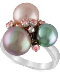 Majorica - Sterling Silver Pink Cubic Zirconia & Colored Imitation Pearl Ring - Lyst