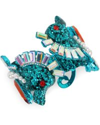Betsey Johnson - Blue-tone Crystal & Imitation Pearl Glitter Seahorse Bangle Bracelet - Lyst