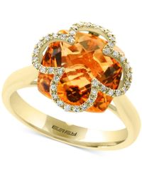 Effy Collection - Citrine (6-1/2 Ct. T.w.) & Diamond (1/8 Ct. T.w.) Ring In 14k Gold - Lyst