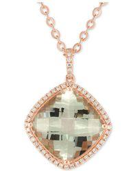 "Macy's - Prasiolite (10 Ct. T.w.) & Diamond (1/4 Ct. T.w.) 18"" Pendant Necklace In 14k Rose Gold - Lyst"