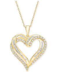 Macy's - Diamond Heart Pendant Necklace (1/2 Ct. T.w.) - Lyst