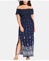 35d4fd79f35 Lyst - City Chic Trendy Plus Size Strapless Floral-print Maxi Dress ...