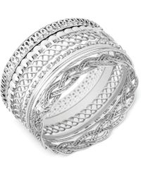 Guess - Textured Bangle Bracelet Set - Lyst