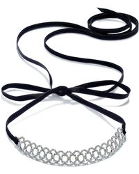INC International Concepts - Silver-tone Crystal Pavé Scalloped Black Ribbon Choker Necklace - Lyst