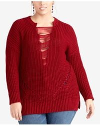 RACHEL Rachel Roy - Plus Size Strappy-inset Sweater, Created For Macy's - Lyst