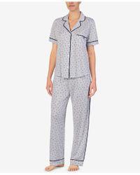 DKNY - Logo Contrast-trim Knit Pajama Set - Lyst