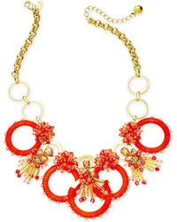 """Kate Spade - Gold-tone Stone, Bead & Wrapped Hoop Statement Necklace, 17"""" + 3"""" Extender - Lyst"""