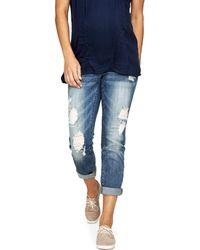 Luxe Essentials - Denim Maternity Ripped Boyfriend Jeans, Vintage Medium Wash - Lyst