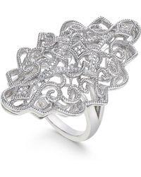 Macy's - Diamond Filigree Statement Ring (1/10 Ct. T.w.) In Sterling Silver - Lyst