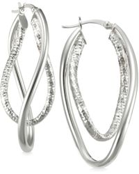 6cd41415f Macy's - Smooth And Textured Twisty Hoop Earrings In Sterling Silver - Lyst