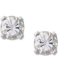 Macy's - Round-cut Diamond Earrings In 10k Gold (1/5 Ct. T.w.) - Lyst