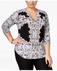 b2d66ffdbe5 INC International Concepts - Plus Size Printed Zipped Faux-pocket Shirt -  Lyst