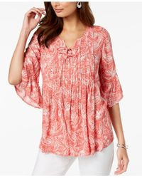 Style & Co. - Petite Printed Pleated Top, Created For Macy's - Lyst