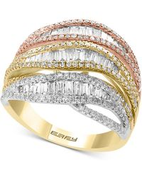 Effy Collection - Effy® Diamond Tri-color Statement Ring (1-3/8 Ct. T.w.) In 14k Gold, White Gold & Rose Gold - Lyst