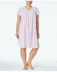 Miss Elaine | Plus Size Picot-trm Knit Nightgown | Lyst