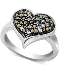 Macy's - Marcasite & Crystal Heart Ring In Fine Silver-plate - Lyst