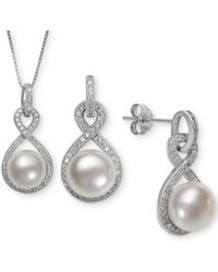 Macy's - Cultured Freshwater Pearl (8 & 10mm) & White Topaz (1-1/3 Ct. T.w.) Jewelry Set In Sterling Silver - Lyst