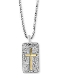 """Effy Collection - White Sapphire Cross Dog Tag 22"""" Pendant Necklace (1-3/8 Ct. T.w.) In Sterling Silver & 18k Gold - Lyst"""