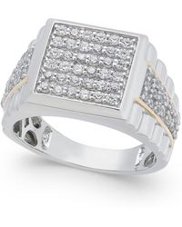 Macy's - Men's Diamond Cluster Ring (1-1/4 Ct. T.w.) In 10k White And Yellow Gold - Lyst