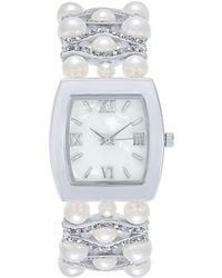 Charter Club - Silver-tone Imitation Pearl & Pavé Bracelet Watch 29mm, Created For Macy' - Lyst