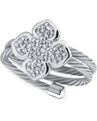 Charriol - Le Fleur Sterling Silver Ring With White Topaz And Stainless Steel Cable - Lyst