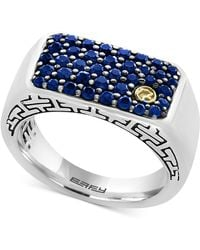 Effy Collection | Men's Sapphire Ring (1-3/8 Ct. T.w.) In Sterling Silver, 18k Gold And Black Rhodium | Lyst