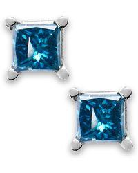Macy's - 10k White Gold Blue Diamond Stud Earrings (1/6 Ct. T.w.) - Lyst